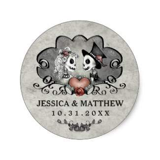 skeleton LOVE Matching Gray & Black Round Sticker Label with Names