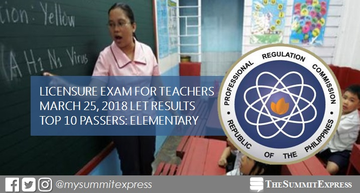 Top 10 Passers Elementary: March 2018 LET Teachers board exam