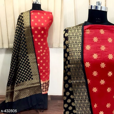 Chanderi Silk Suits with weaving work