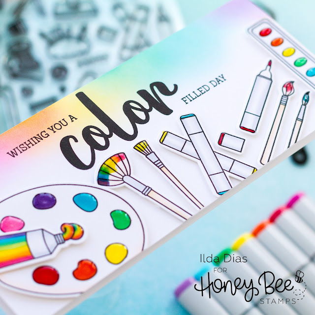 Crafty, Friendship Cards,Honey Bee Stamps, color, media, school theme, art supplies, artist, Card Making, Stamping, Die Cutting, handmade card, ilovedoingallthingscrafty, Stamps, how to, rainbow