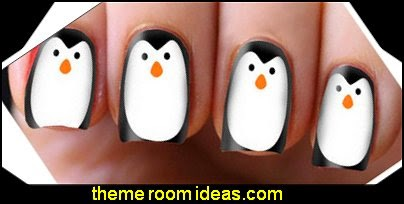 Christmas Penguin Nail Art Decals Transfers Wraps Foils Nail Xmas Wrapping