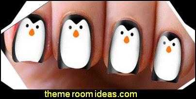 Christmas Penguin Nail Art Decals Transfers Wraps Foils Nail Xmas Wrapping