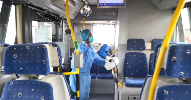 Daily sterilization and cleaning operations to ensure the safety of bus passengers in Dubai.. Video