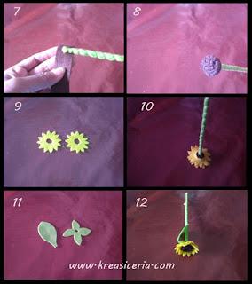 Tutorial bunga matahari (sun flower) dari bahan kain flanel part 2