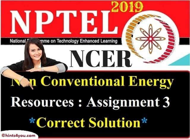 NCER Assignment 3 Solution - NCER NPTEL