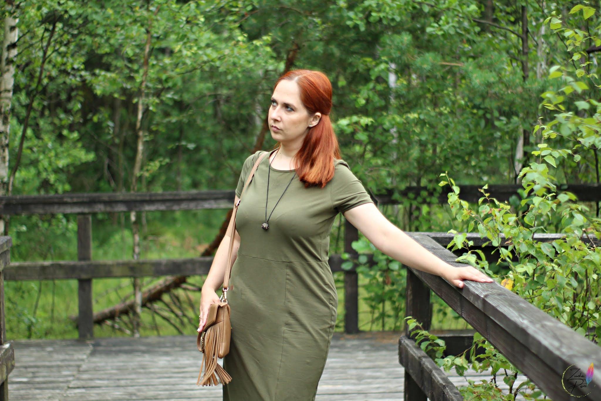 Długa bawełniana oliwkowa sukienka na lato - bonprix