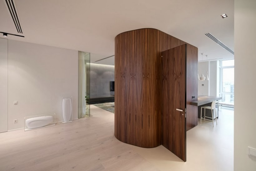 Wooden wall in Minimalist modern apartment in Moscow