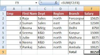 How to use AutoSum Function in Excel  in Hindi