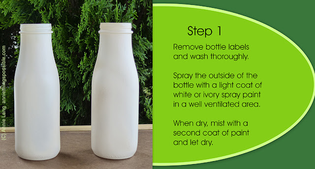 Annie Lang's free DIY upcycled frappuccino bottles into farmhouse vase project