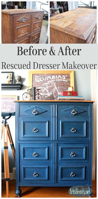 before and after boho blue rescued dresser makeover handsome blue diy painted furniture