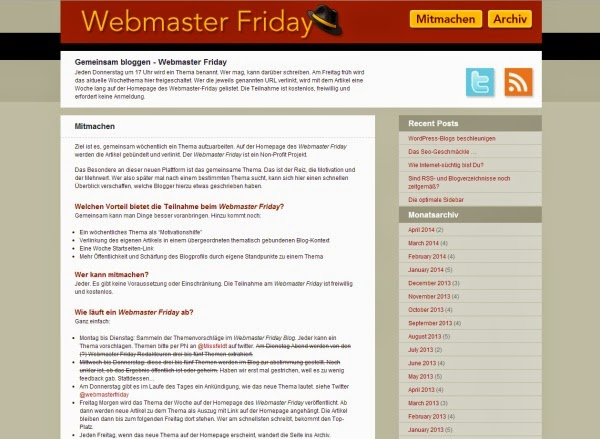 Online bloggen Webmaster Friday