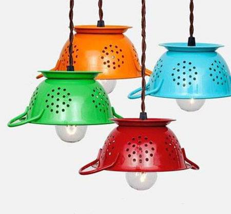 decoración reciclada con lámparas