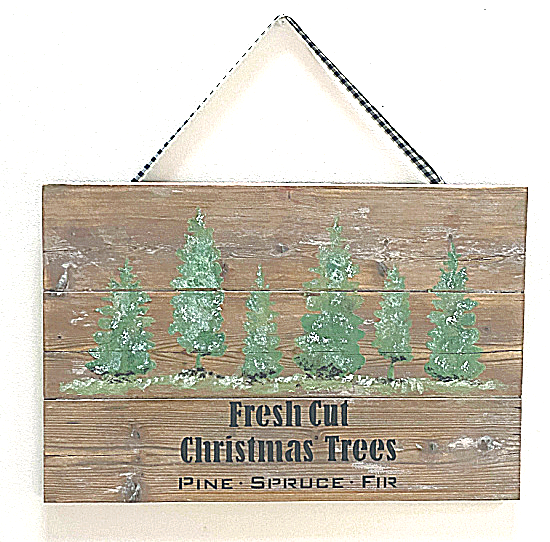 Christmas tree sign on gingham ribbon