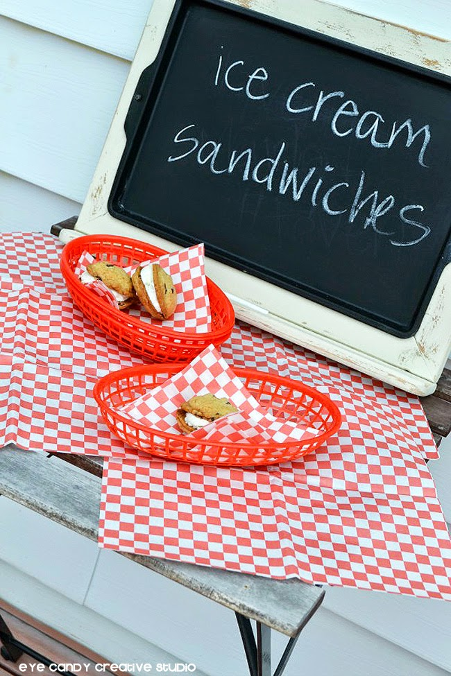 summer dessert idea, ice cream sandwich station, cookies, 4th of july BBQ