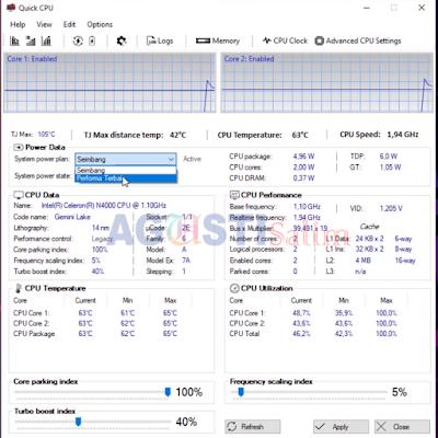 Cara Meningkatkan kecepatan Processor tanpa Over Clock di semua jenis Laptop / Komputer