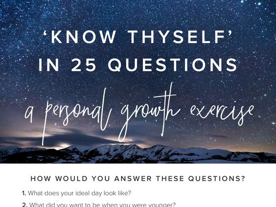 Know Thyself In 25 Questions: Get to know me: A personal Growth Exercise