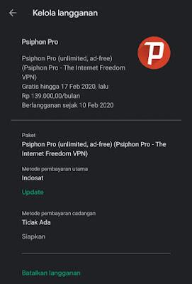 Cara membatalkan berlangganan Trial Psiphon Pro