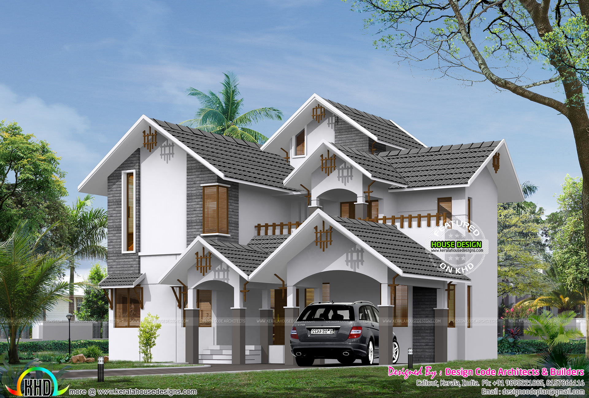 Sloped roof 2900 square feet 4 bedroom home kerala home for Sloped roof house plans in india