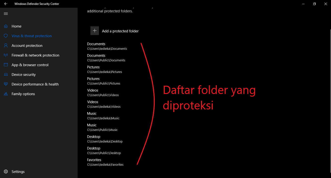 contoh folder yang dicontrol oleh windows defender