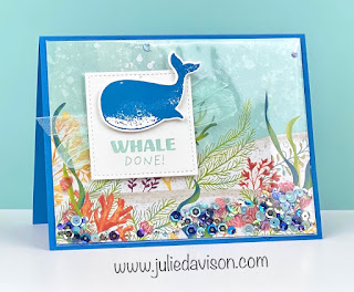 "Stampin' Up! Whale Done ""Faker Shaker"" Card + Video ~ Whale of a Time Suite ~ 2020-2021 Annual Catalog ~ www.juliedavison.com"