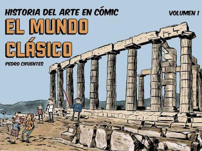 Imagen en cómic de un profesor y estudiantes en la acrópolis de Atenas,