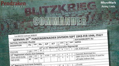 Micromark Specific Lists For BKC-IV from Pendraken Miniatures