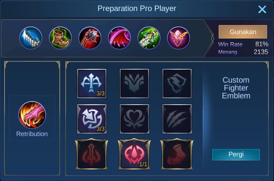 build item fanny mobile legends (ML)