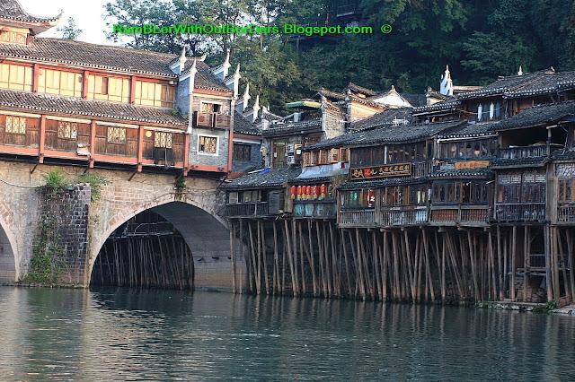 Stilt houses, Riverside, Phoenix Fenghuang County, Hunan, China