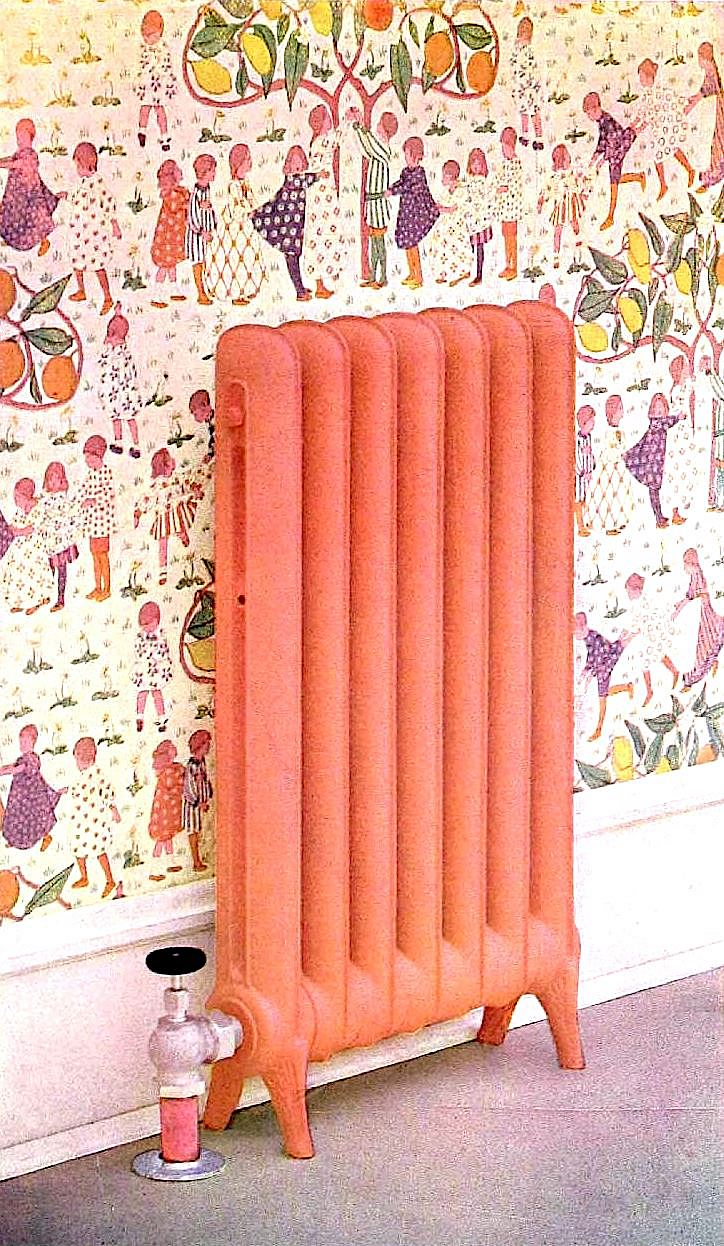 black and white photos were color tinted for this 1905 radiator catalog