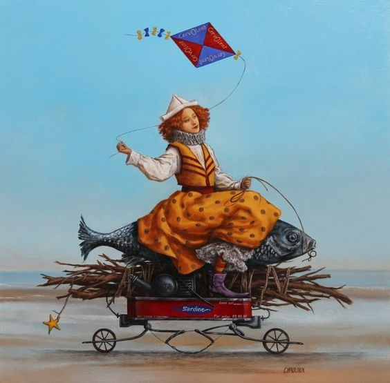 06-La-Dame-Au-Volant-Catherine-Chauloux-Paintings-of-Surreal-Worlds-and-Characters-www-designstack-co
