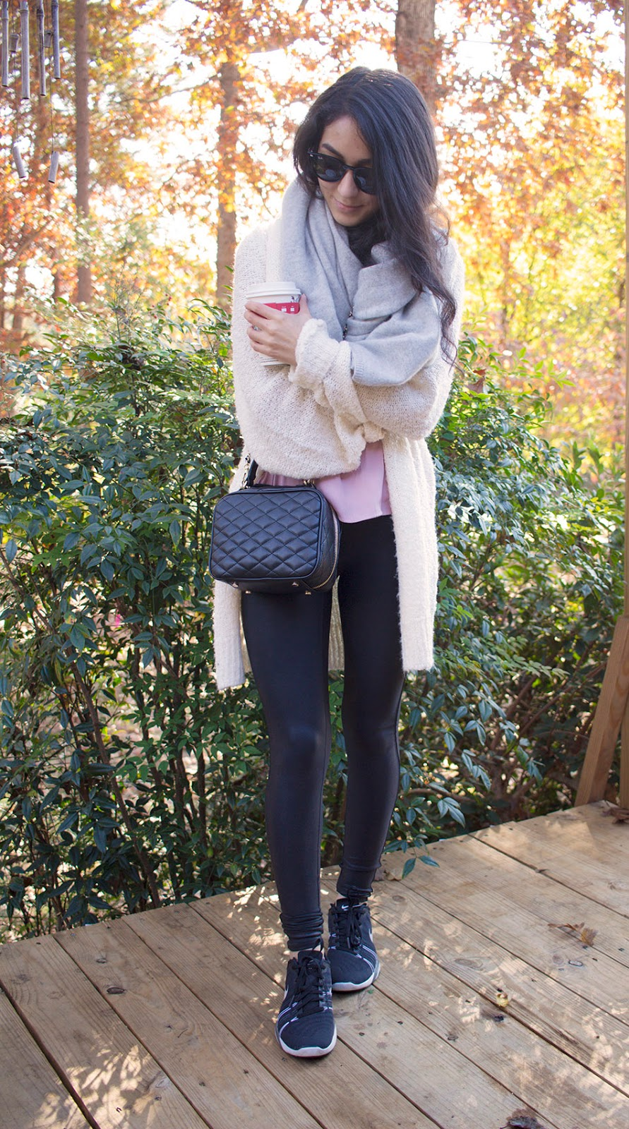 spanx leather leggings cozy fall outfit
