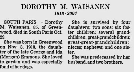 Obituary of Dorothy M. Emmons Waisanen