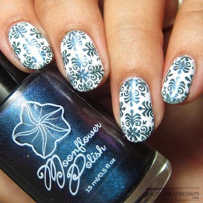 Moonflower Polish Mystique nail polish stamped over white