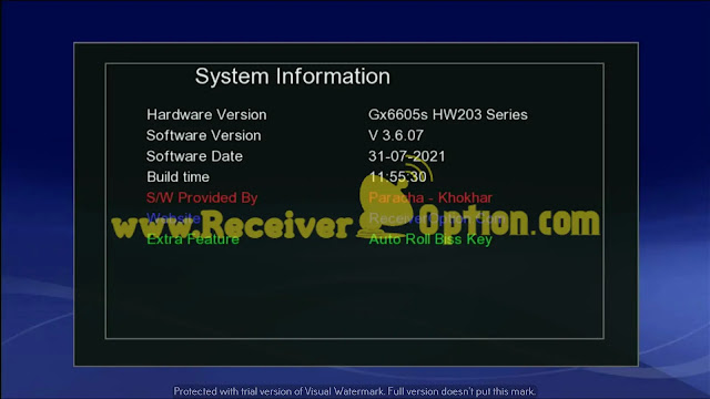 GX6605S HW203 ALL VERSION AUTO ROLL BISS KEY NEW SOFTWARE 31 JULY 2021