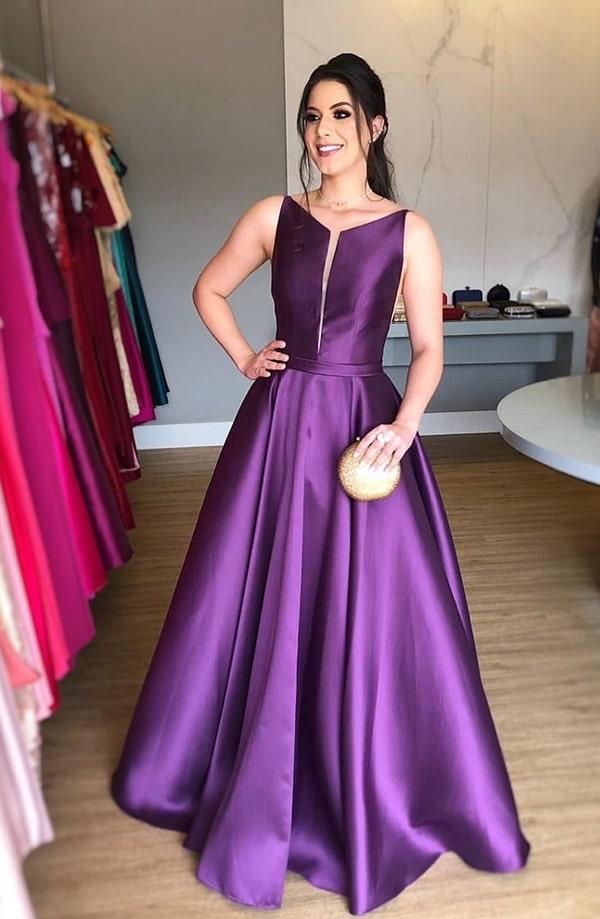 vestido de festa longo roxo uva para madrinha de casamento