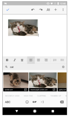 GIF insertion in Docs Android App