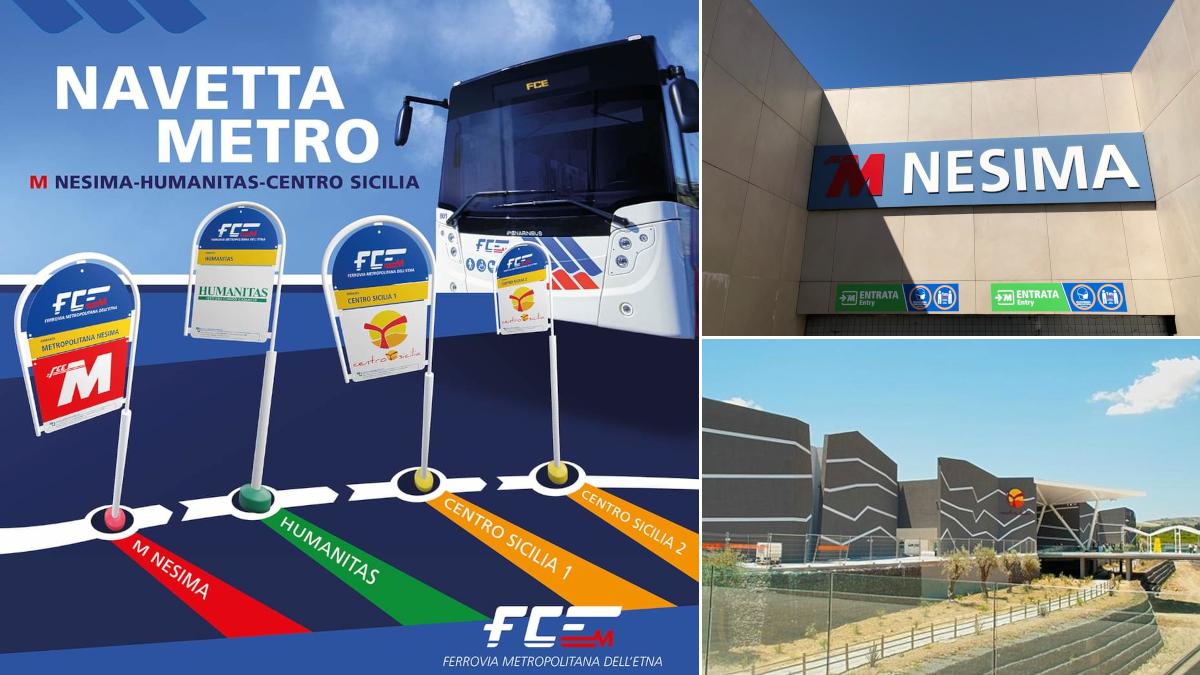 Metropolitana navetta bus Nesima Humanitas Centro Sicilia