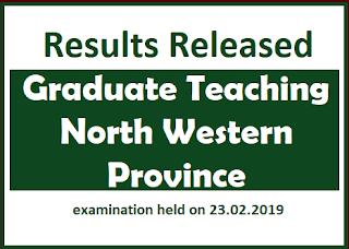 Resullts : Graduate Teaching : North Western Province - Teacher
