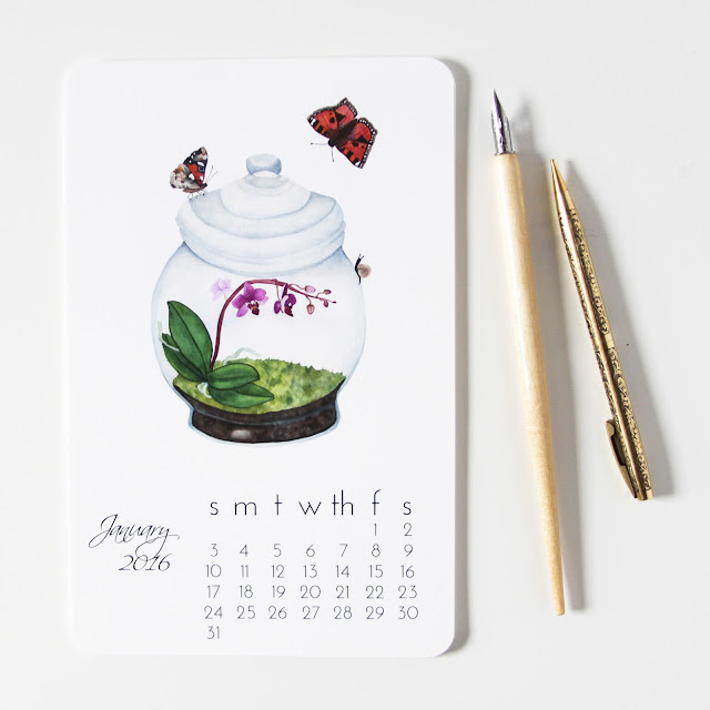 watercolor, art print calendar, terrarium, butterflies, Anne Butera, My Giant Strawberry