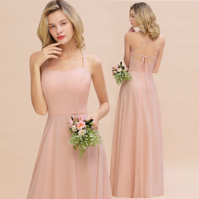 Peach color bridesmaid dress