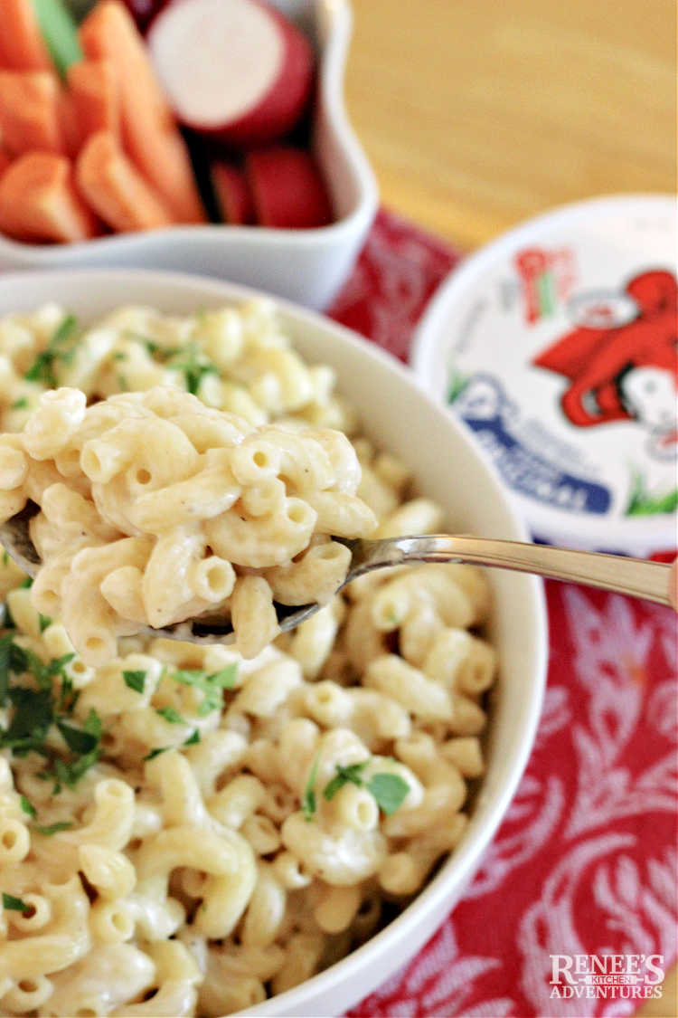 Laughing Cow Mac and Cheese ready to eat on a serving spoon