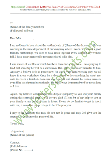 condolence letter to family of deceased employee