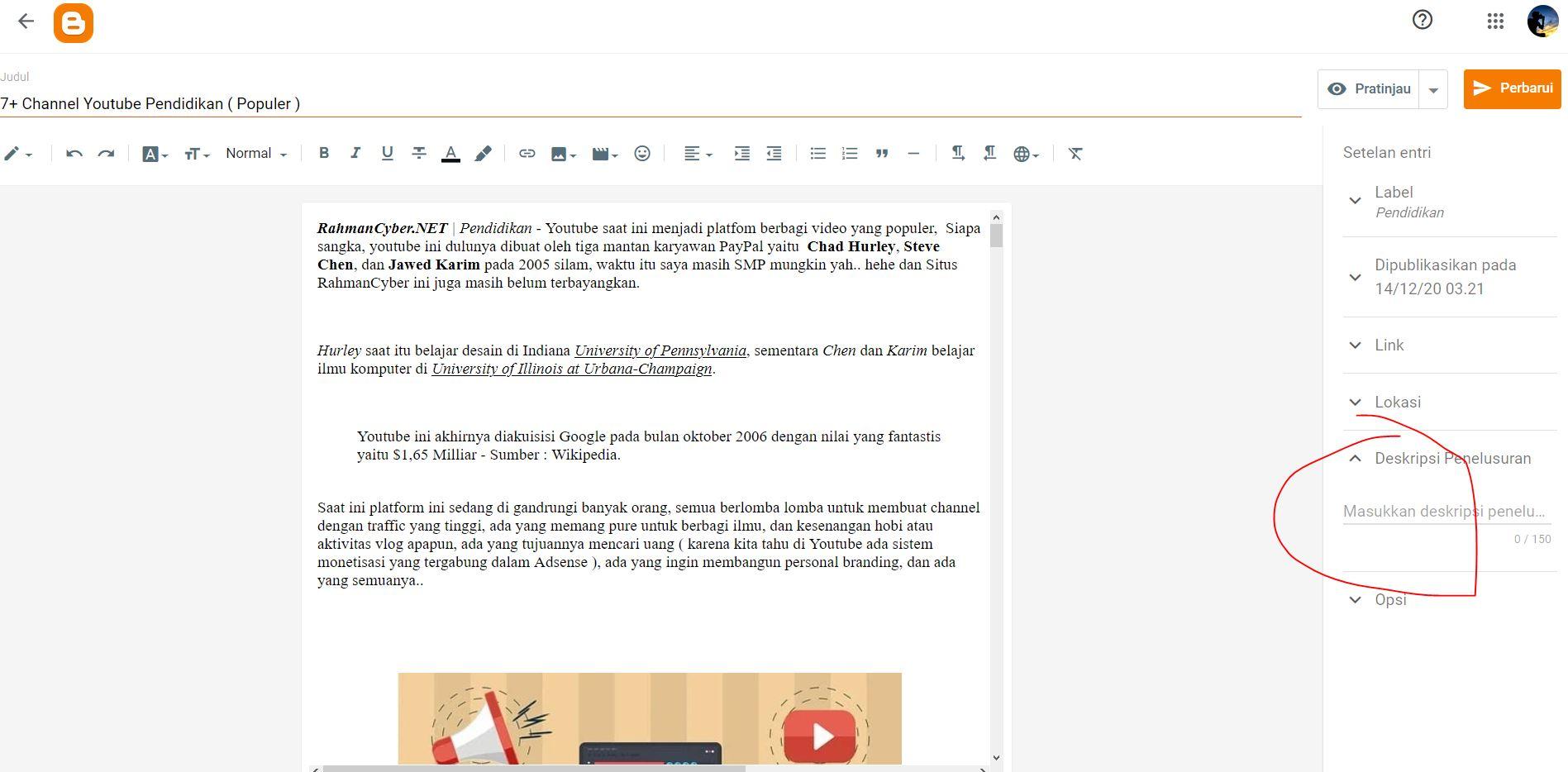 Contoh Blog Tanpa Meta Deskripsi Manual