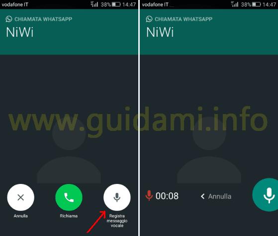 Tasto Registra messaggio vocale chiamate WhatsApp