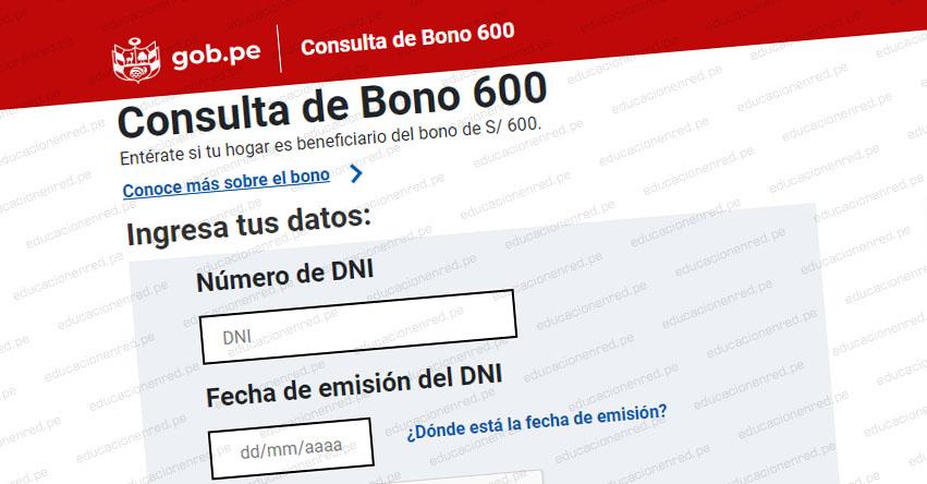 WWW.BONO600.GOB.PE » Ingresa tu DNI para saber si eres beneficiario del Bono de S/ 600 [LINK OFICIAL]