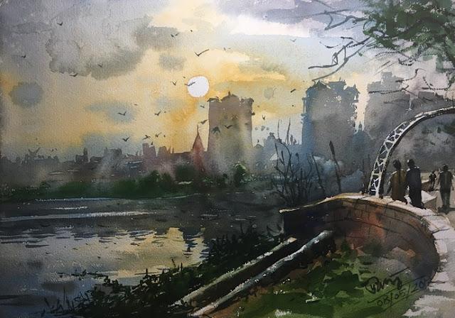 Un dessin à l'aquarelle représentant une vue au couché du soleil sur un lac. A l'avant-plan un petit pont de pierre verdoyant. Ce dessin fait partie d'une série