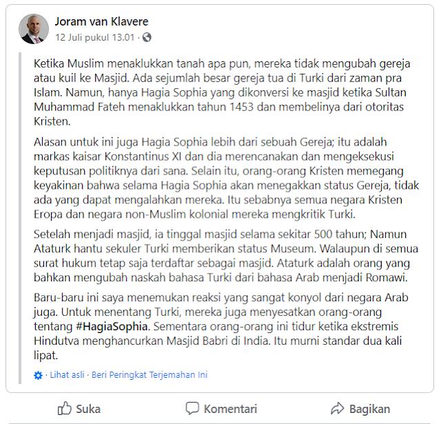 Politikus Belanda ini Dukung Hagia Shopia Jadi Masjid