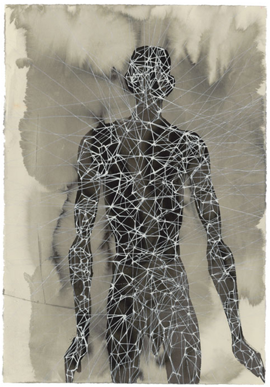 Anthony Gormley Another Singularity, 2006 [from series MATRIX DRAWINGS, 2005 - 2011] Carbon and casein on paper 75.5 x 56 cm
