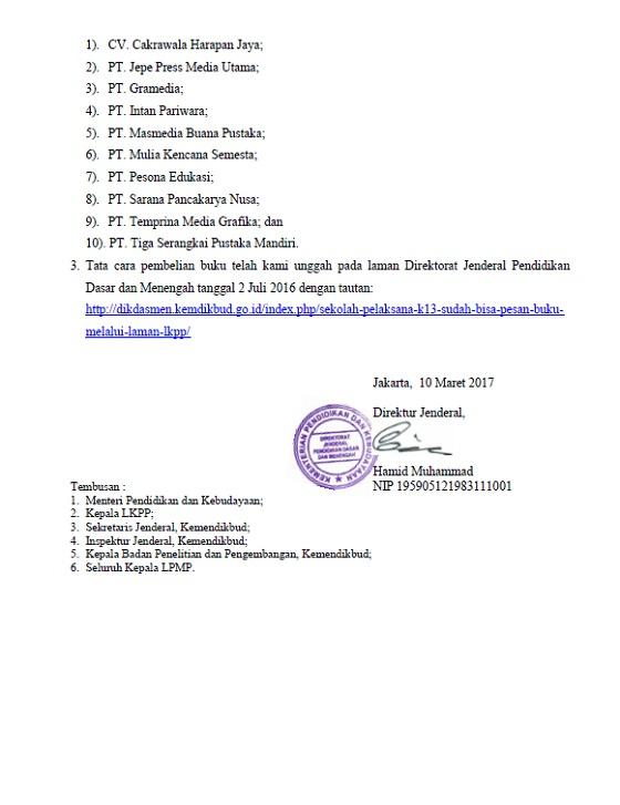 SE Dirjen Dikdasmen Pembelian Buku Teks Pelajaran Bagi Sekolah Pelaksana Kurikulum 2013 Tahun Pelajaran 2017/2018