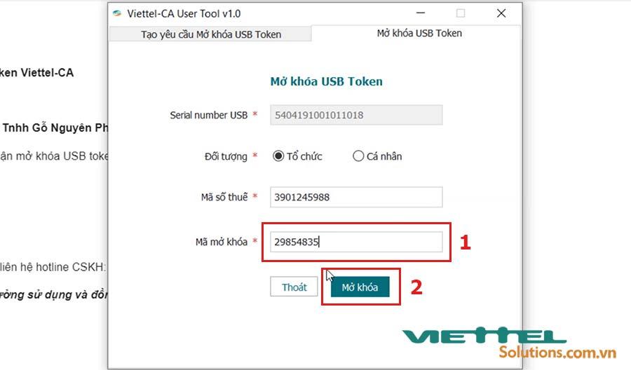 Hình 9 - Mở khóa USB token Viettel